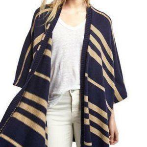 GAP dark navy striped poncho boho cozy warm S M L